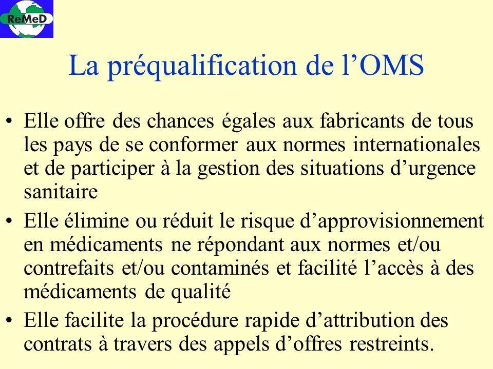 La préqualification de lOMS Elle offre des chances égales aux fabricants de tous les pays de se conformer aux normes internationales et de participer