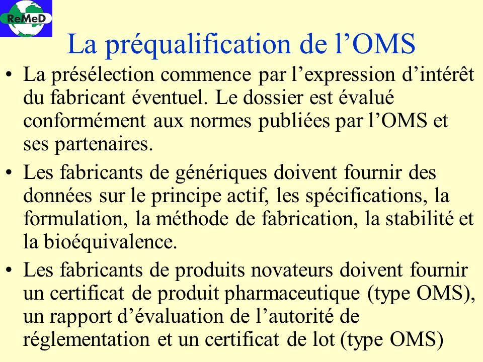 La préqualification de lOMS La présélection commence par lexpression dintérêt du fabricant éventuel. Le dossier est évalué conformément aux normes pub
