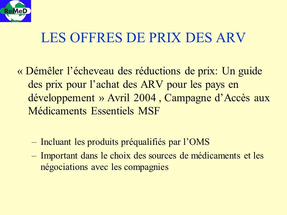 LES OFFRES DE PRIX DES ARV « Démêler lécheveau des réductions de prix: Un guide des prix pour lachat des ARV pour les pays en développement » Avril 20