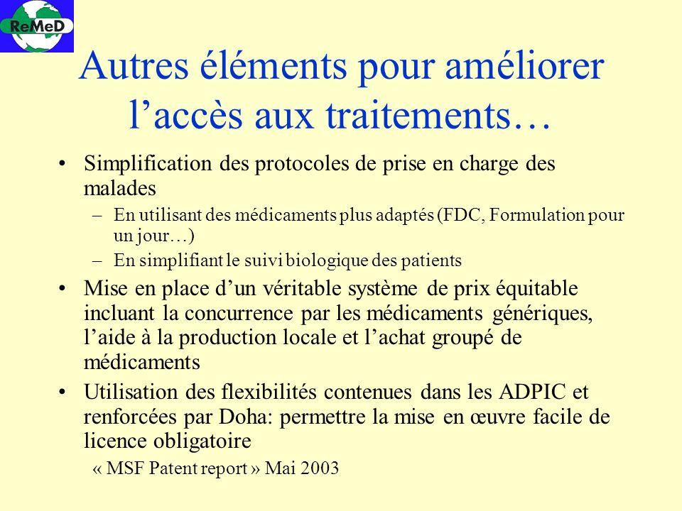 Autres éléments pour améliorer laccès aux traitements… Simplification des protocoles de prise en charge des malades –En utilisant des médicaments plus