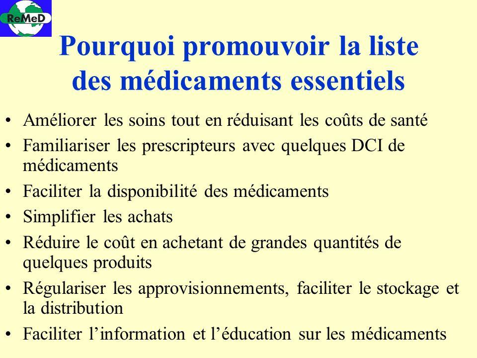 Pourquoi promouvoir la liste des médicaments essentiels Améliorer les soins tout en réduisant les coûts de santé Familiariser les prescripteurs avec q