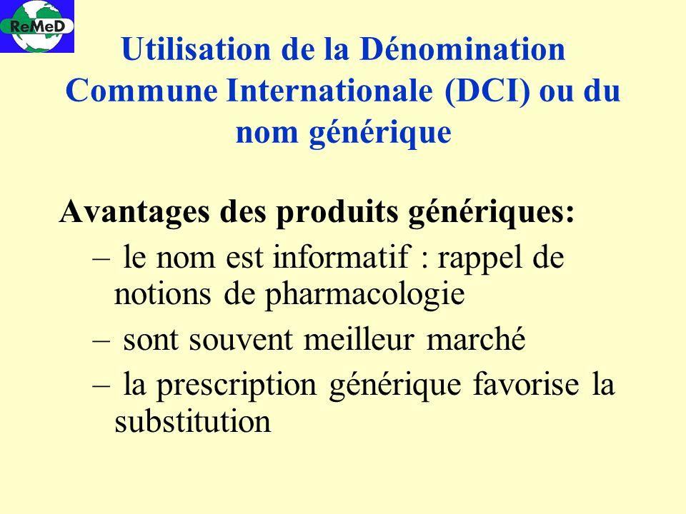Utilisation de la Dénomination Commune Internationale (DCI) ou du nom générique Avantages des produits génériques: – le nom est informatif : rappel de