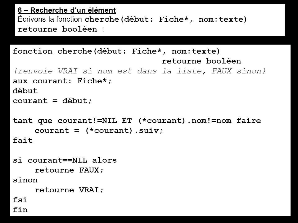 6 – Recherche d'un élément Écrivons la fonction cherche(début: Fiche*, nom:texte) retourne booléen : fonction cherche(début: Fiche*, nom:texte) retour