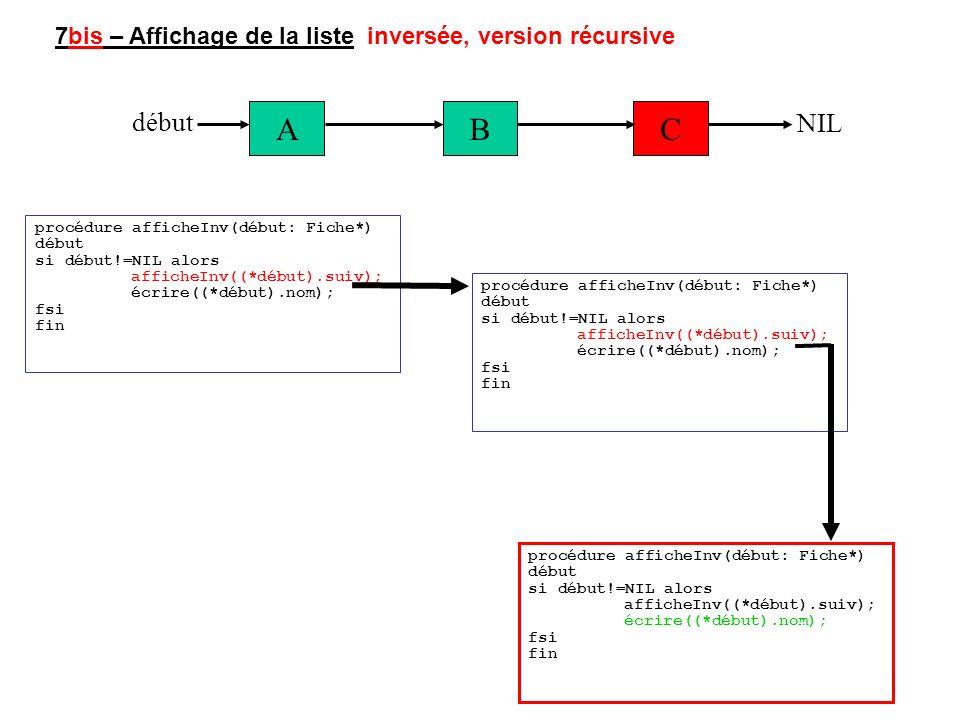 7bis – Affichage de la liste inversée, version récursive ABC début NIL procédure afficheInv(début: Fiche*) début si début!=NIL alors afficheInv((*débu