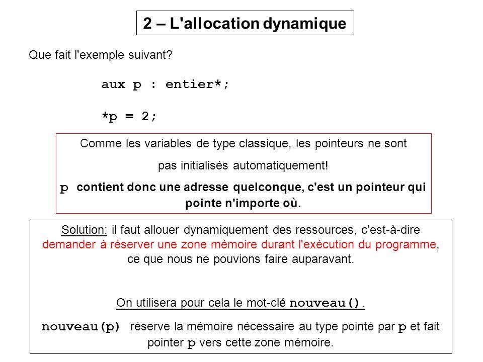Que fait l'exemple suivant? aux p : entier*; *p = 2; 2 – L'allocation dynamique Comme les variables de type classique, les pointeurs ne sont pas initi