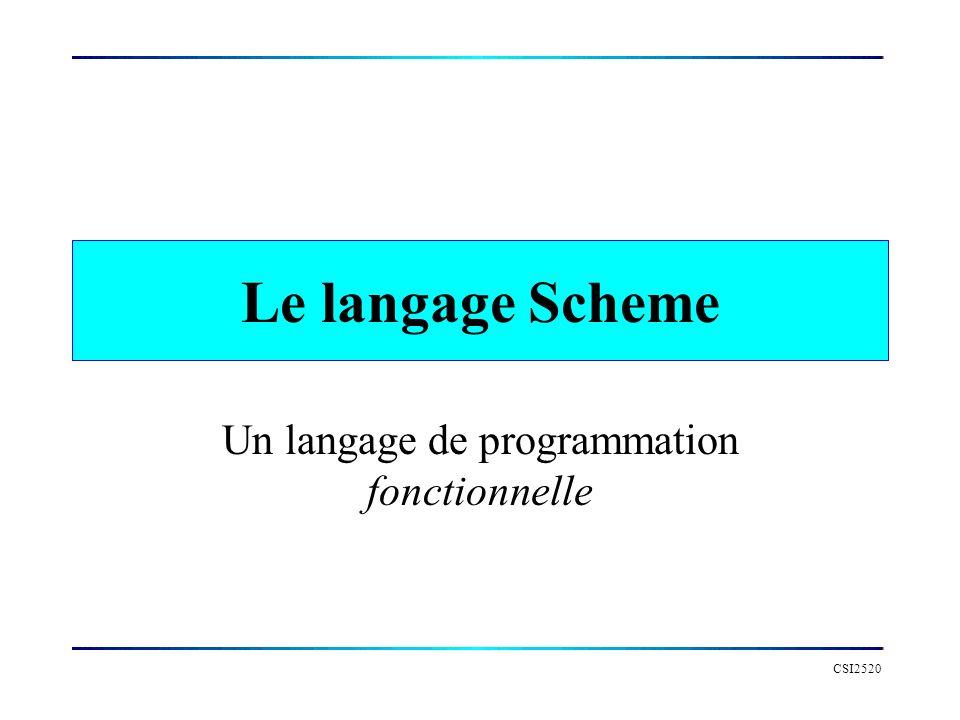 CSI2520 Le langage Scheme Un langage de programmation fonctionnelle