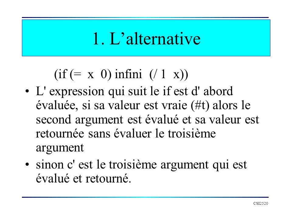 CSI2520 1. Lalternative (if (= x 0) infini (/ 1 x)) L' expression qui suit le if est d' abord évaluée, si sa valeur est vraie (#t) alors le second arg
