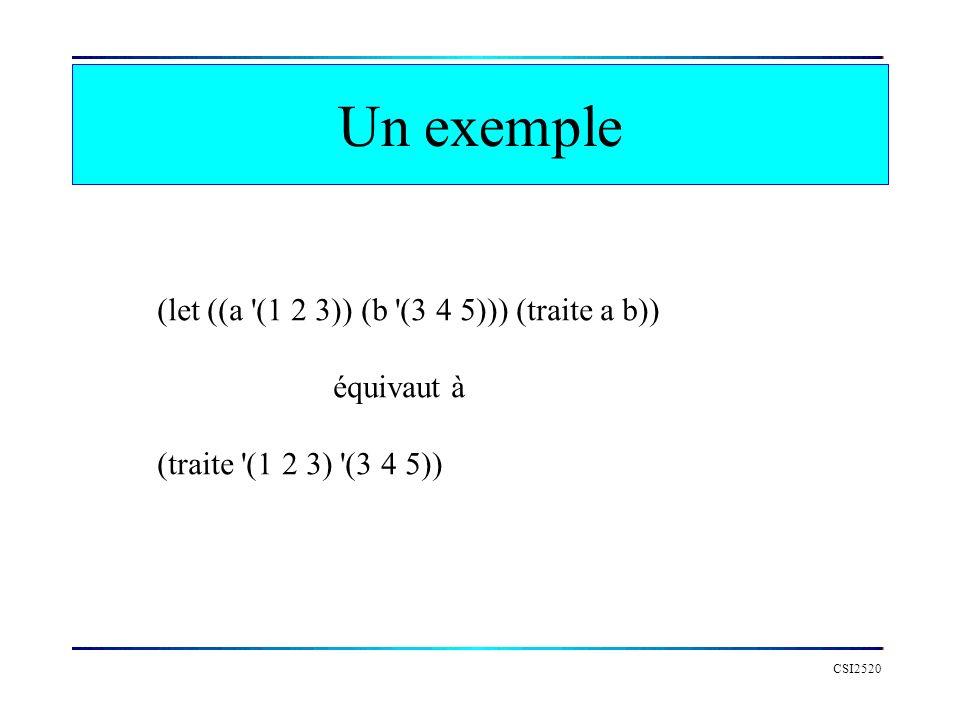 CSI2520 Un exemple (let ((a '(1 2 3)) (b '(3 4 5))) (traite a b)) équivaut à (traite '(1 2 3) '(3 4 5))