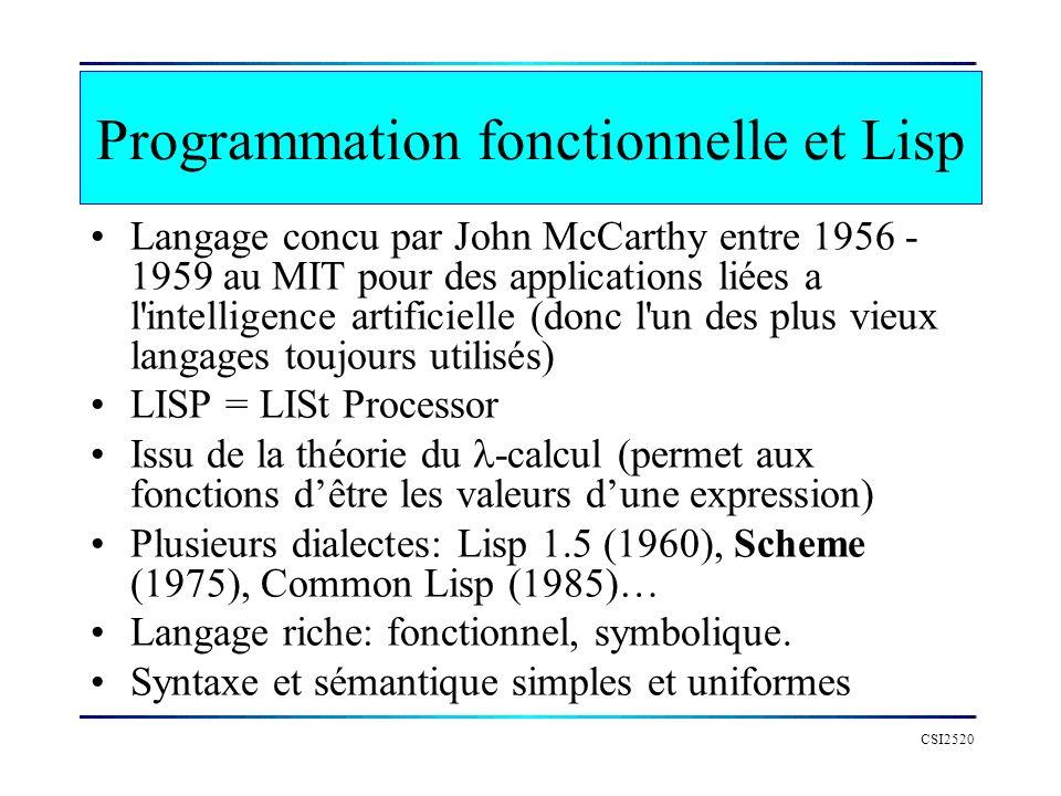 CSI2520 Programmation fonctionnelle et Lisp Langage concu par John McCarthy entre 1956 - 1959 au MIT pour des applications liées a l'intelligence arti