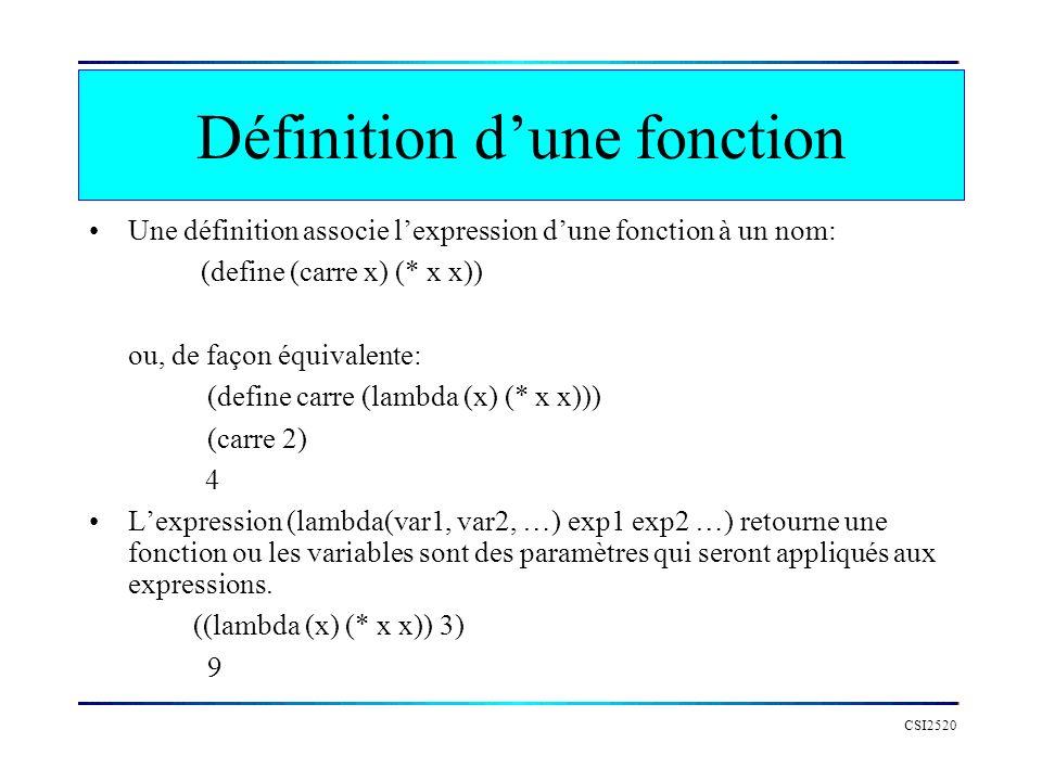 CSI2520 Définition dune fonction Une définition associe lexpression dune fonction à un nom: (define (carre x) (* x x)) ou, de façon équivalente: (defi