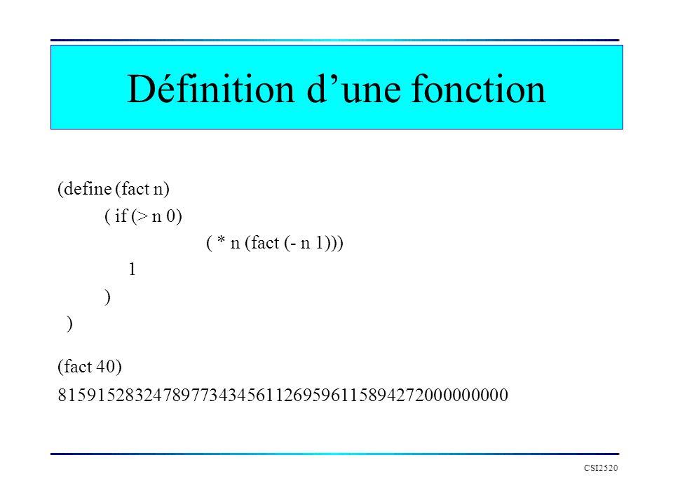 CSI2520 Définition dune fonction (define (fact n) ( if (> n 0) ( * n (fact (- n 1))) 1 ) (fact 40) 815915283247897734345611269596115894272000000000