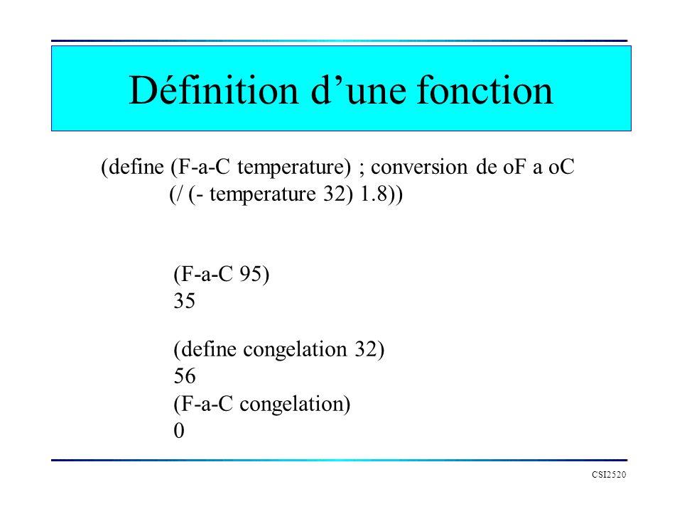 CSI2520 Définition dune fonction (define (F-a-C temperature) ; conversion de oF a oC (/ (- temperature 32) 1.8)) (F-a-C 95) 35 (define congelation 32)