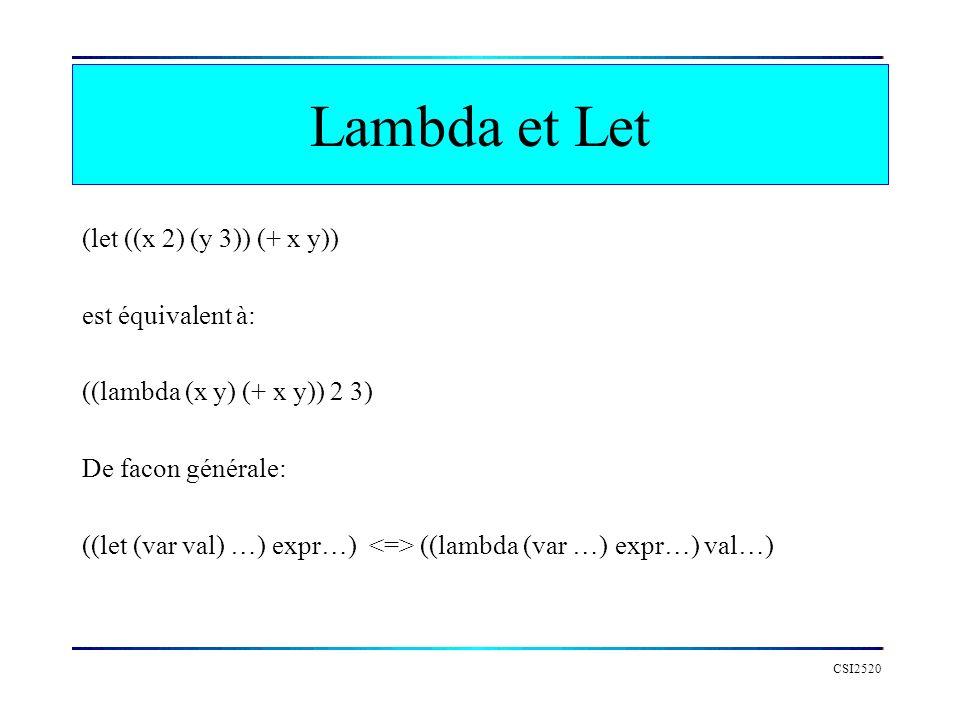 CSI2520 Lambda et Let (let ((x 2) (y 3)) (+ x y)) est équivalent à: ((lambda (x y) (+ x y)) 2 3) De facon générale: ((let (var val) …) expr…) ((lambda