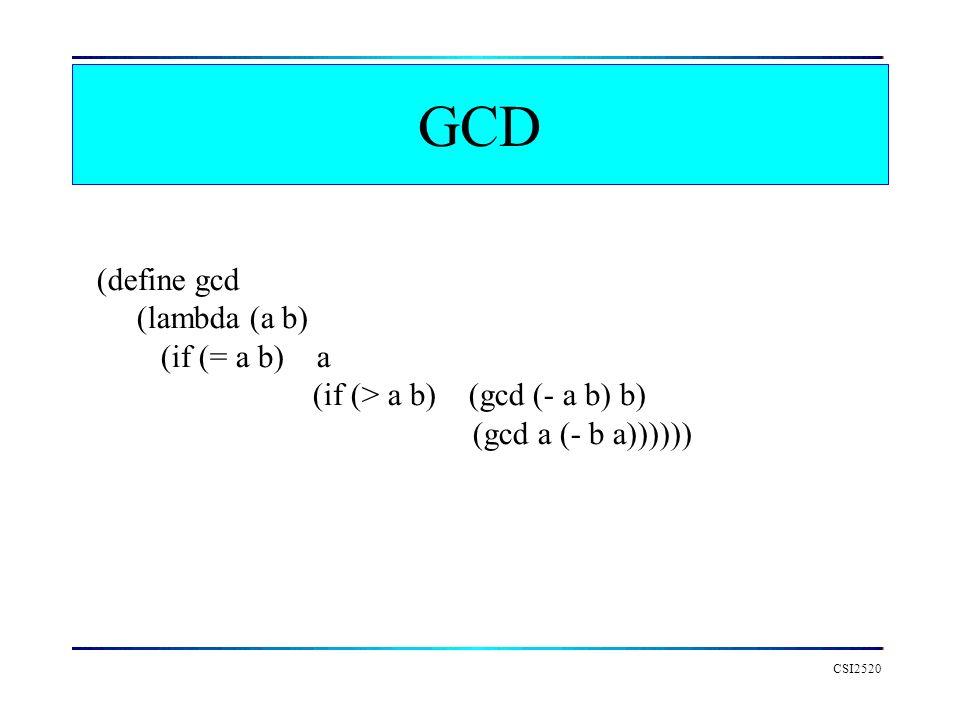 GCD CSI2520 (define gcd (lambda (a b) (if (= a b) a (if (> a b) (gcd (- a b) b) (gcd a (- b a))))))