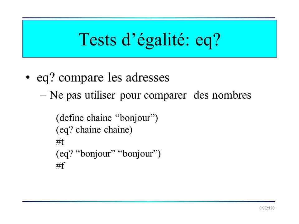 Tests dégalité: eq? eq? compare les adresses –Ne pas utiliser pour comparer des nombres CSI2520 (define chaine bonjour) (eq? chaine chaine) #t (eq? bo