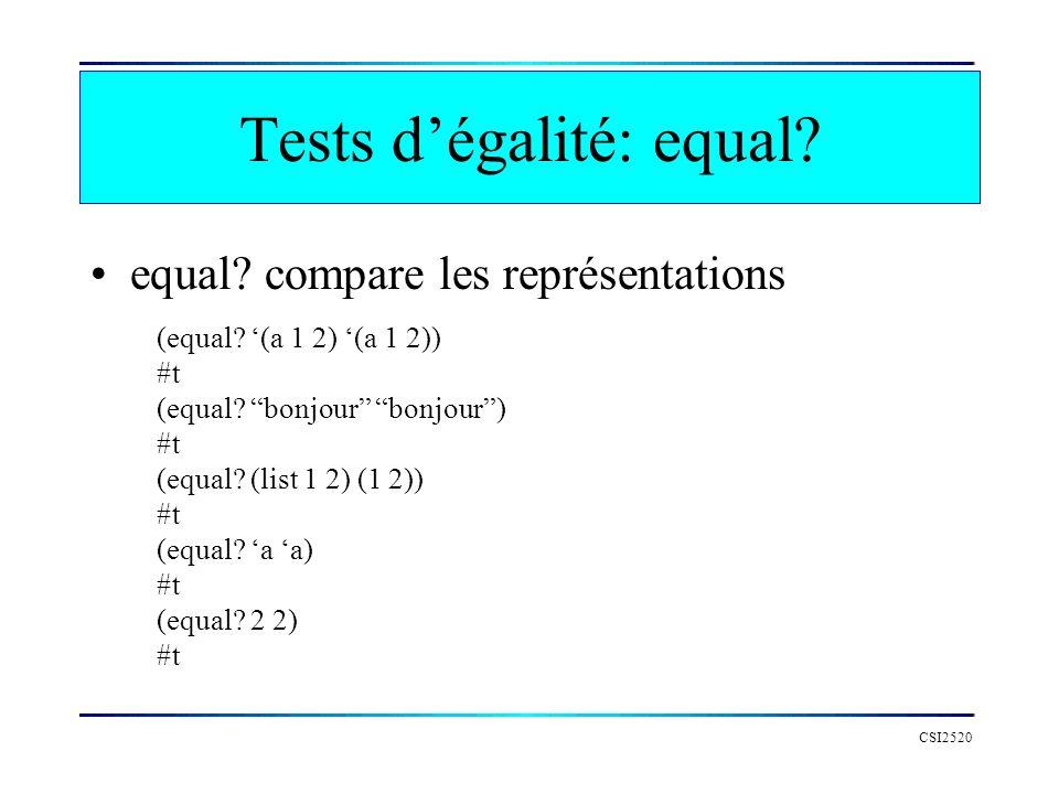 Tests dégalité: equal? equal? compare les représentations CSI2520 (equal? (a 1 2) (a 1 2)) #t (equal? bonjour bonjour) #t (equal? (list 1 2) (1 2)) #t