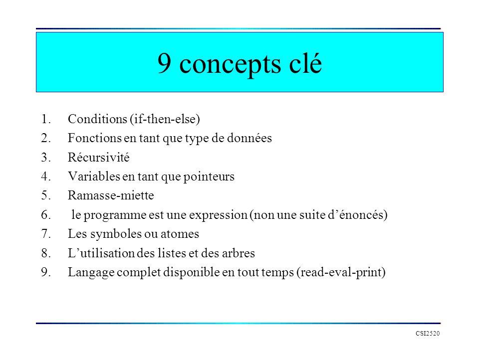 9 concepts clé 1.Conditions (if-then-else) 2.Fonctions en tant que type de données 3.Récursivité 4.Variables en tant que pointeurs 5.Ramasse-miette 6.