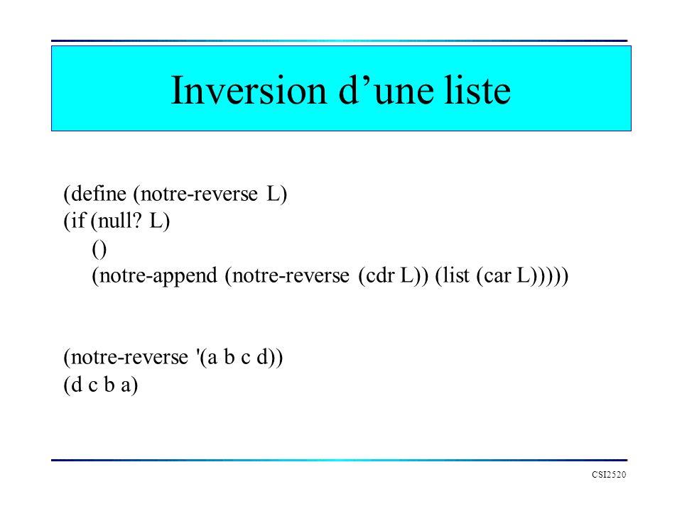 CSI2520 Inversion dune liste (define (notre-reverse L) (if (null? L) () (notre-append (notre-reverse (cdr L)) (list (car L))))) (notre-reverse '(a b c