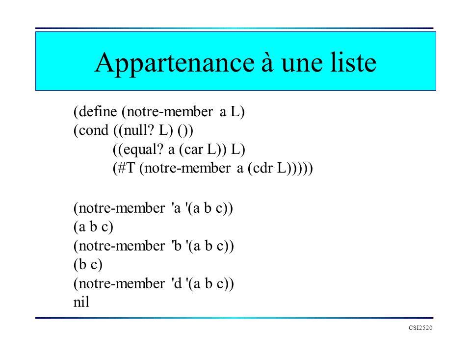CSI2520 Appartenance à une liste (define (notre-member a L) (cond ((null? L) ()) ((equal? a (car L)) L) (#T (notre-member a (cdr L))))) (notre-member