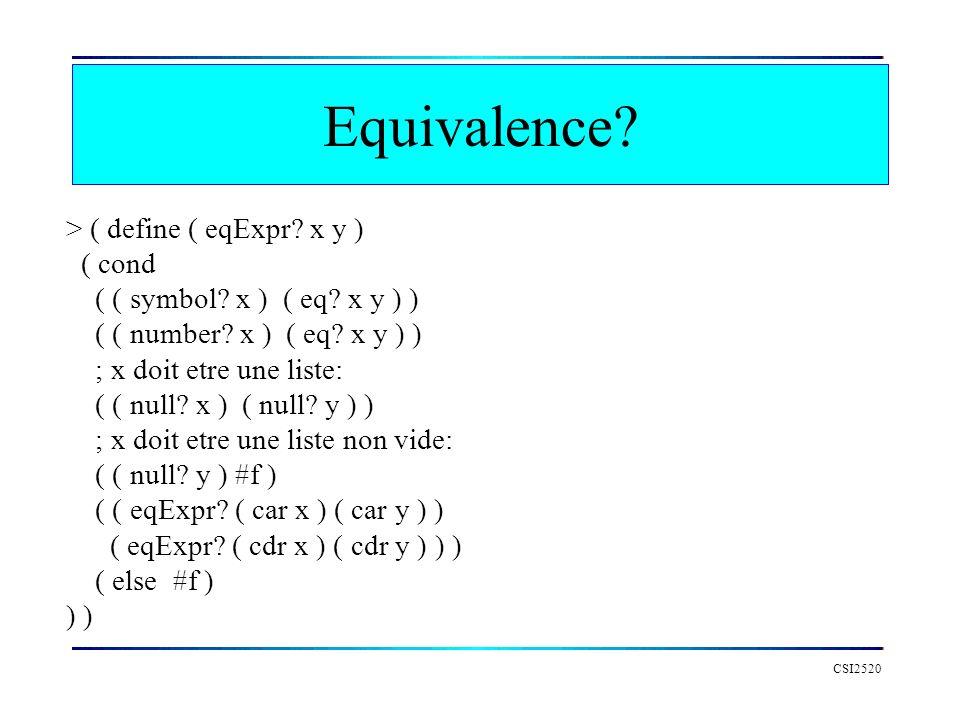 CSI2520 > ( define ( eqExpr? x y ) ( cond ( ( symbol? x ) ( eq? x y ) ) ( ( number? x ) ( eq? x y ) ) ; x doit etre une liste: ( ( null? x ) ( null? y