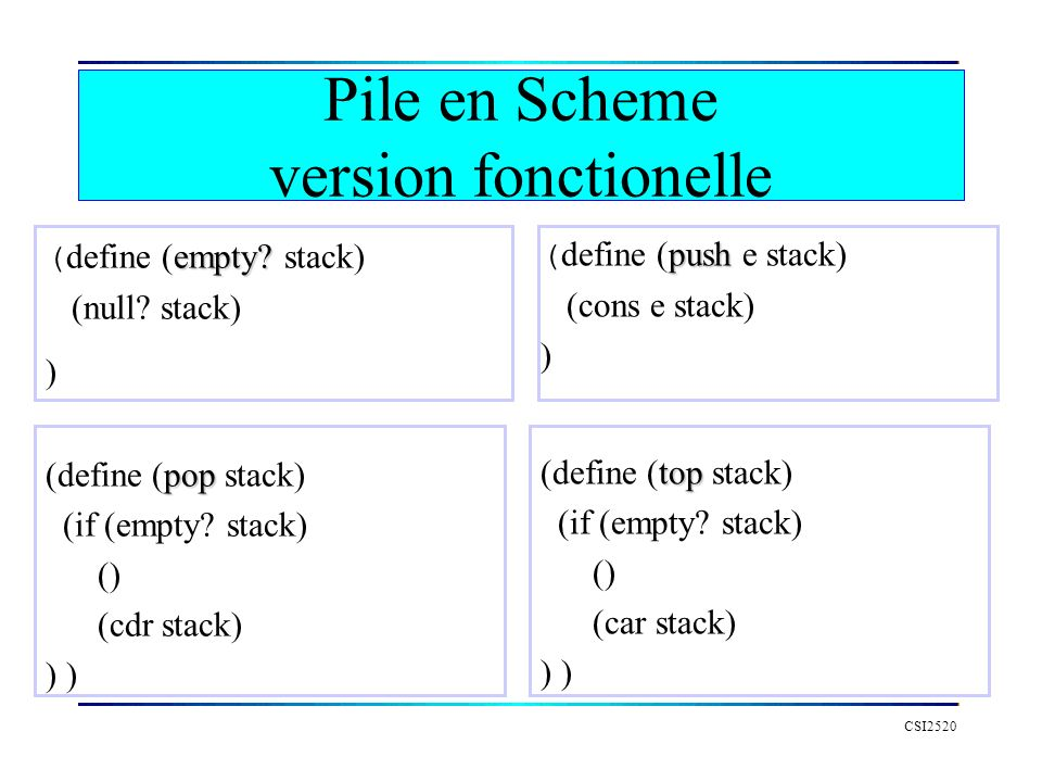 CSI2520 empty? ( define (empty? stack) (null? stack) ) pop (define (pop stack) (if (empty? stack) () (cdr stack) ) push ( define (push e stack) (cons