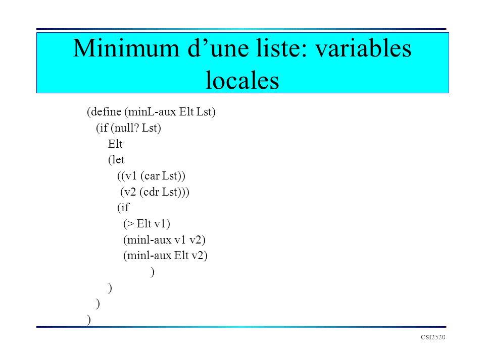 CSI2520 (define (minL-aux Elt Lst) (if (null? Lst) Elt (let ((v1 (car Lst)) (v2 (cdr Lst))) (if (> Elt v1) (minl-aux v1 v2) (minl-aux Elt v2) ) Minimu