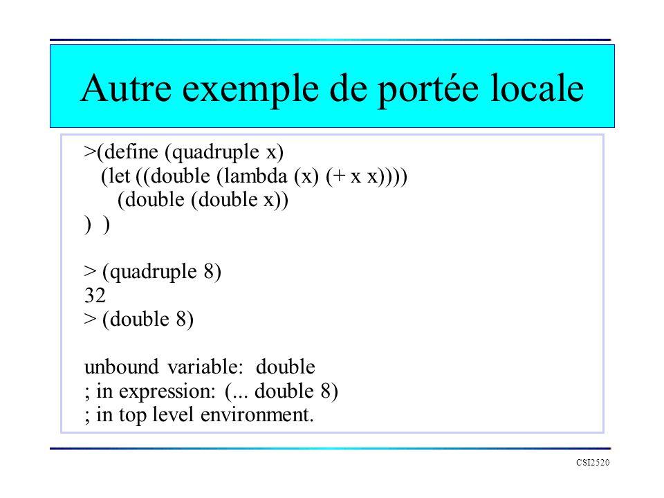 CSI2520 >(define (quadruple x) (let ((double (lambda (x) (+ x x)))) (double (double x)) ) > (quadruple 8) 32 > (double 8) unbound variable: double ; i
