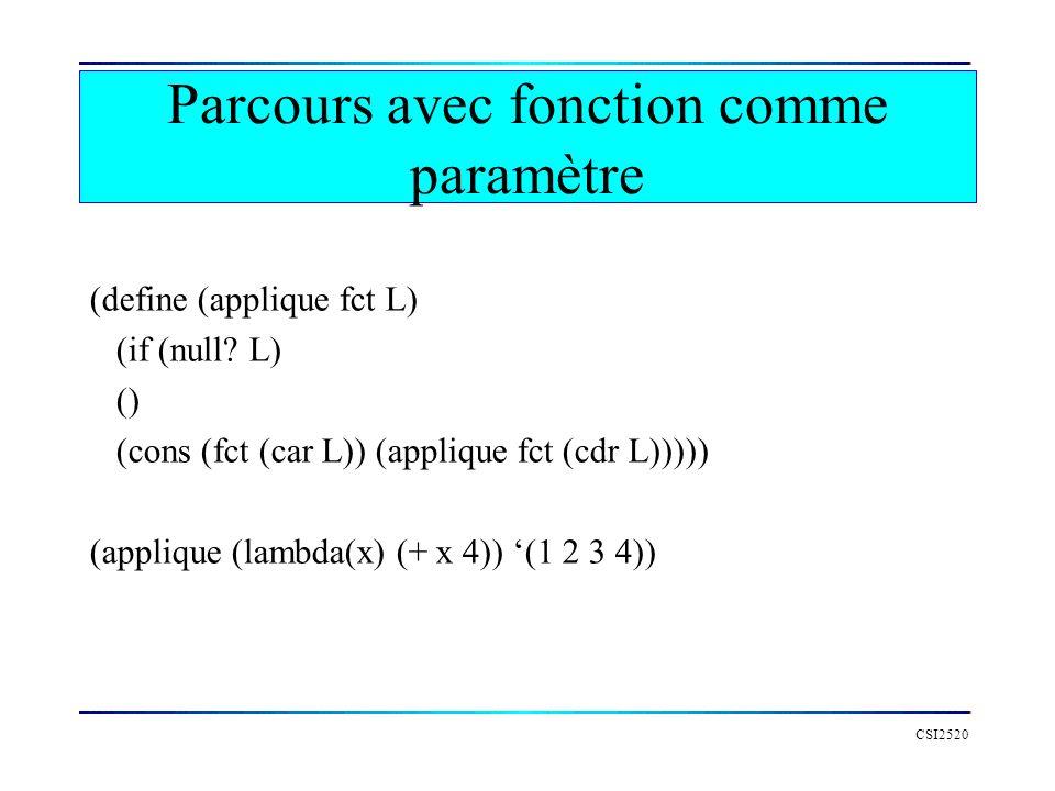 CSI2520 Parcours avec fonction comme paramètre (define (applique fct L) (if (null? L) () (cons (fct (car L)) (applique fct (cdr L))))) (applique (lamb