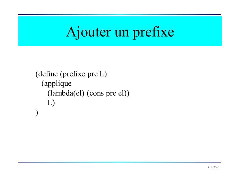 Ajouter un prefixe CSI2520 (define (prefixe pre L) (applique (lambda(el) (cons pre el)) L) )