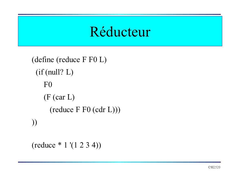 CSI2520 Réducteur (define (reduce F F0 L) (if (null? L) F0 (F (car L) (reduce F F0 (cdr L))) )) (reduce * 1 '(1 2 3 4))