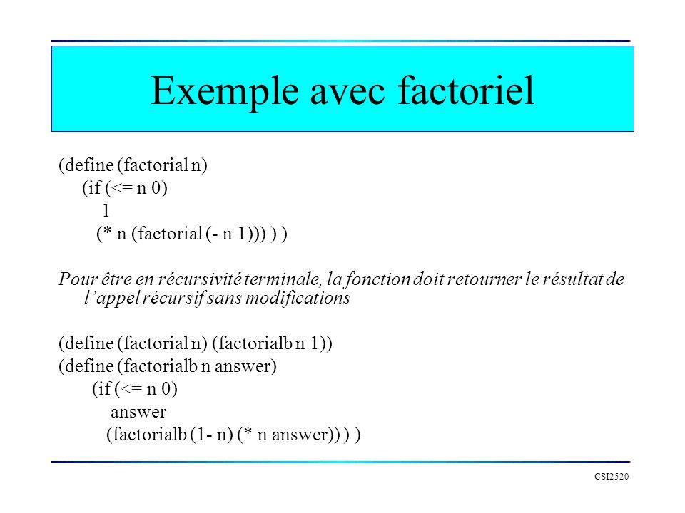 CSI2520 Exemple avec factoriel (define (factorial n) (if (<= n 0) 1 (* n (factorial (- n 1))) ) ) Pour être en récursivité terminale, la fonction doit
