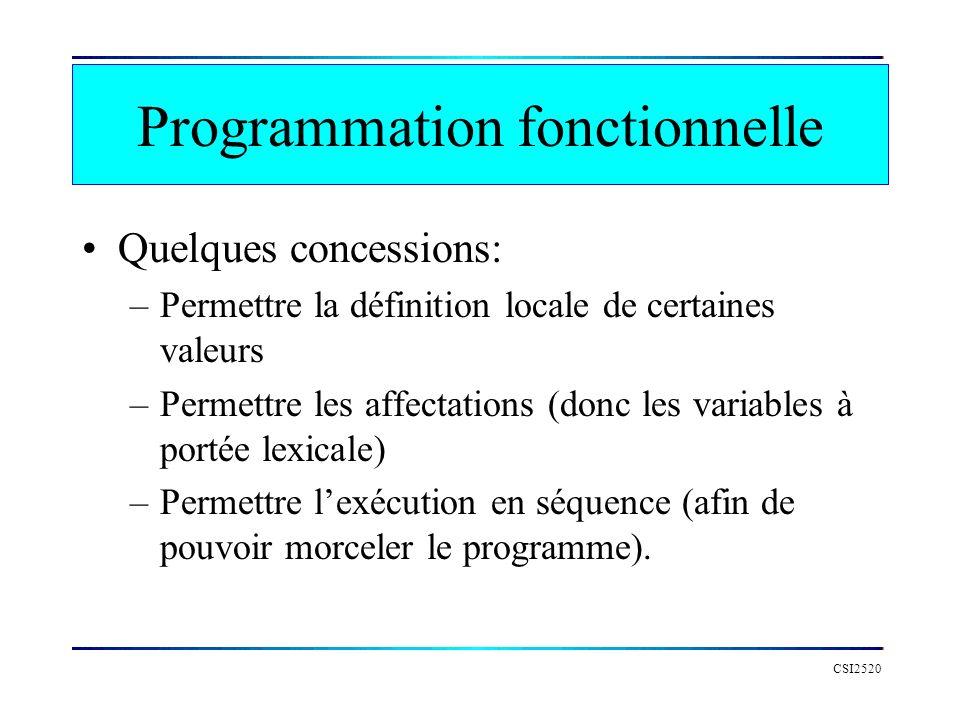 CSI2520 Programmation fonctionnelle Quelques concessions: –Permettre la définition locale de certaines valeurs –Permettre les affectations (donc les v