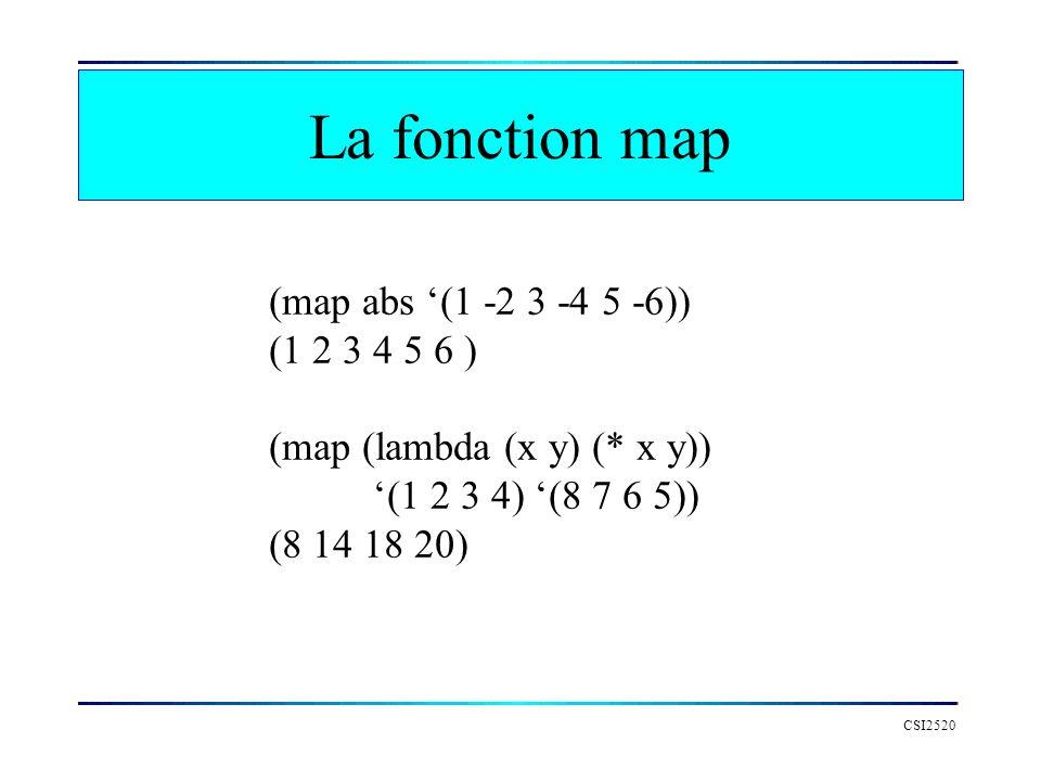 CSI2520 La fonction map (map abs (1 -2 3 -4 5 -6)) (1 2 3 4 5 6 ) (map (lambda (x y) (* x y)) (1 2 3 4) (8 7 6 5)) (8 14 18 20)