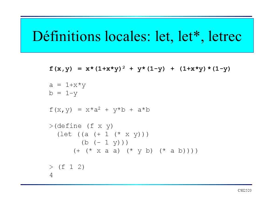CSI2520 f(x,y) = x*(1+x*y) 2 + y*(1-y) + (1+x*y)*(1-y) a = 1+x*y b = 1-y f(x,y) = x*a 2 + y*b + a*b >(define (f x y) (let ((a (+ 1 (* x y))) (b (- 1 y