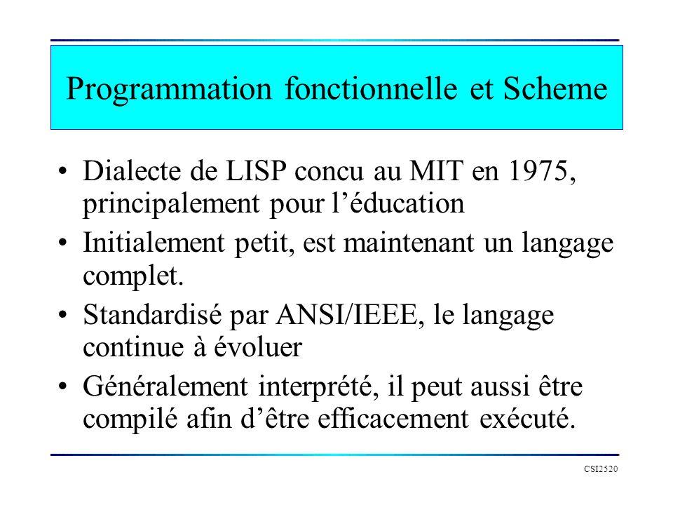 CSI2520 Programmation fonctionnelle et Scheme Dialecte de LISP concu au MIT en 1975, principalement pour léducation Initialement petit, est maintenant