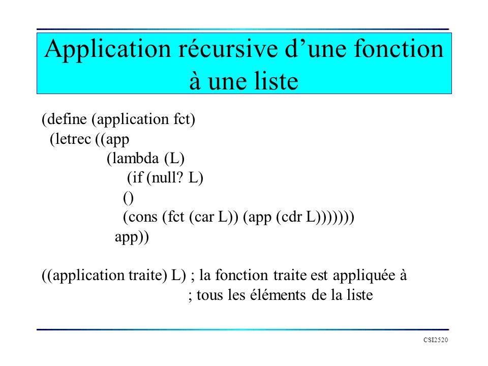 CSI2520 Application récursive dune fonction à une liste (define (application fct) (letrec ((app (lambda (L) (if (null? L) () (cons (fct (car L)) (app