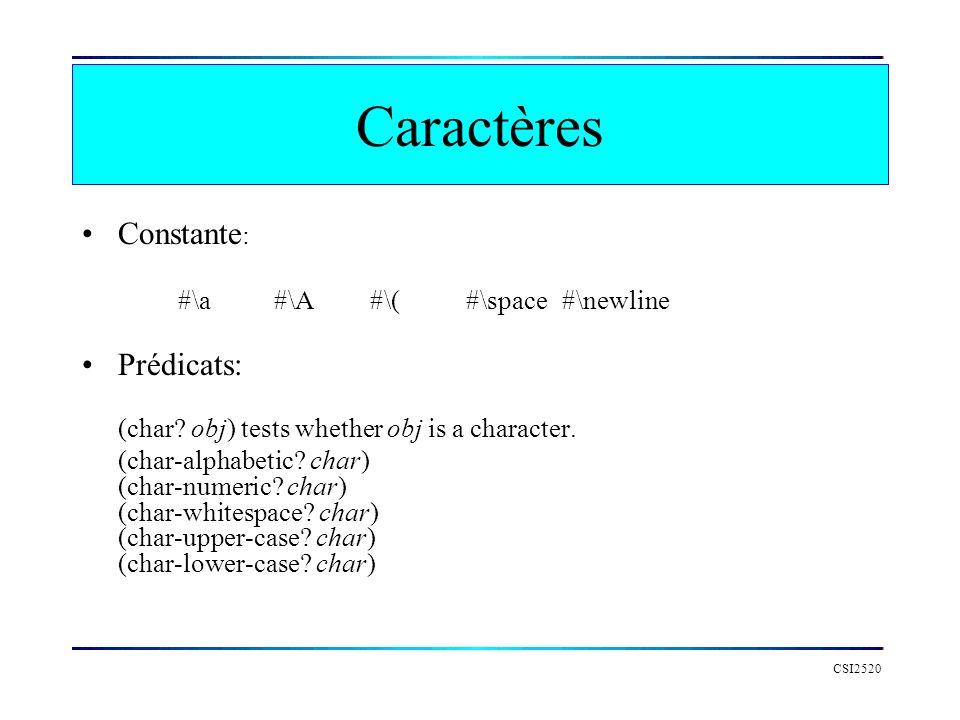 CSI2520 Caractères Constante : #\a #\A #\( #\space #\newline Prédicats: (char? obj) tests whether obj is a character. (char-alphabetic? char) (char-nu
