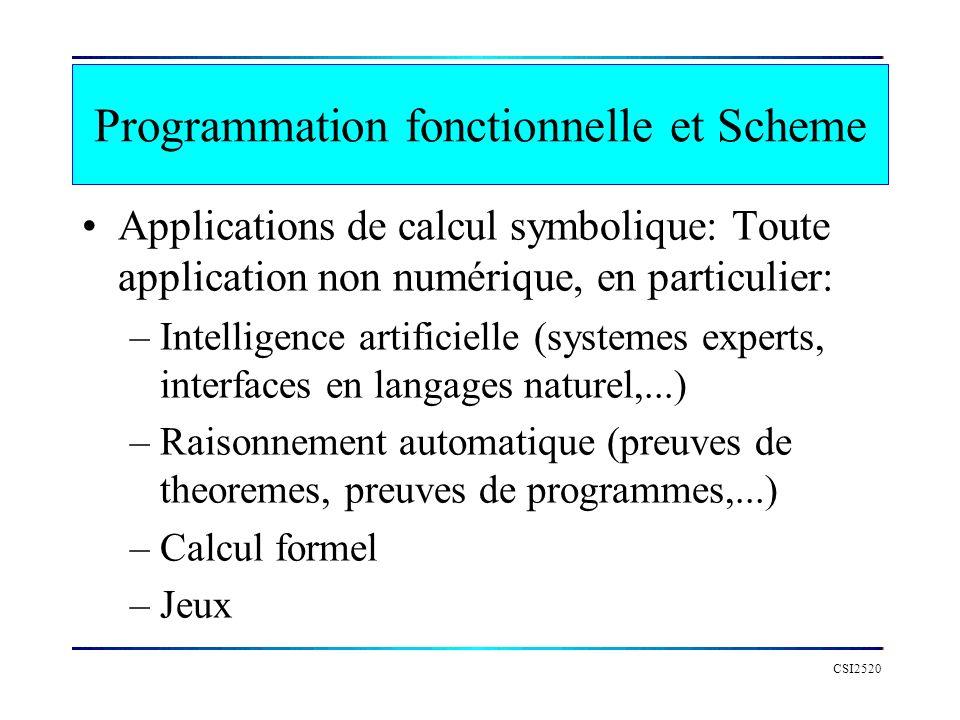 CSI2520 Programmation fonctionnelle et Scheme Applications de calcul symbolique: Toute application non numérique, en particulier: –Intelligence artifi