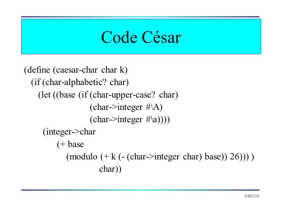 CSI2520 Code César (define (caesar-char char k) (if (char-alphabetic? char) (let ((base (if (char-upper-case? char) (char->integer #\A) (char->integer