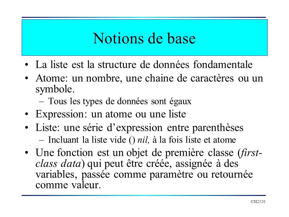CSI2520 Notions de base La liste est la structure de données fondamentale Atome: un nombre, une chaine de caractères ou un symbole. –Tous les types de