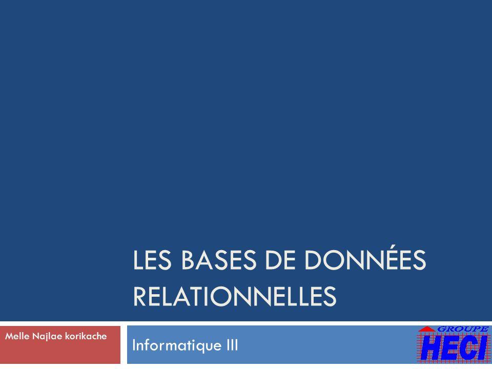 LES BASES DE DONNÉES RELATIONNELLES Informatique III Melle Najlae korikache
