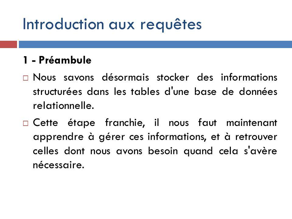 Introduction aux requêtes 1 - Préambule Nous savons désormais stocker des informations structurées dans les tables d'une base de données relationnelle