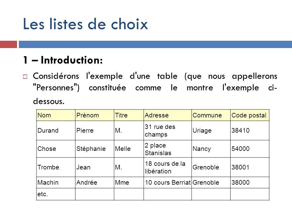 Les listes de choix 1 – Introduction: Considérons l'exemple d'une table (que nous appellerons