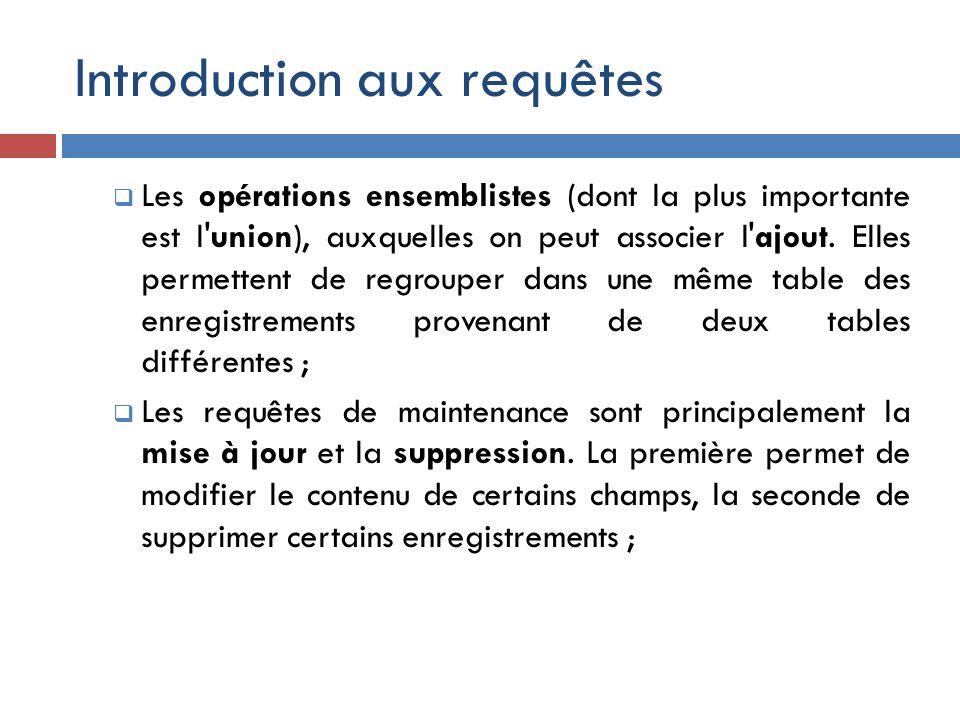 Introduction aux requêtes Les opérations ensemblistes (dont la plus importante est l'union), auxquelles on peut associer l'ajout. Elles permettent de
