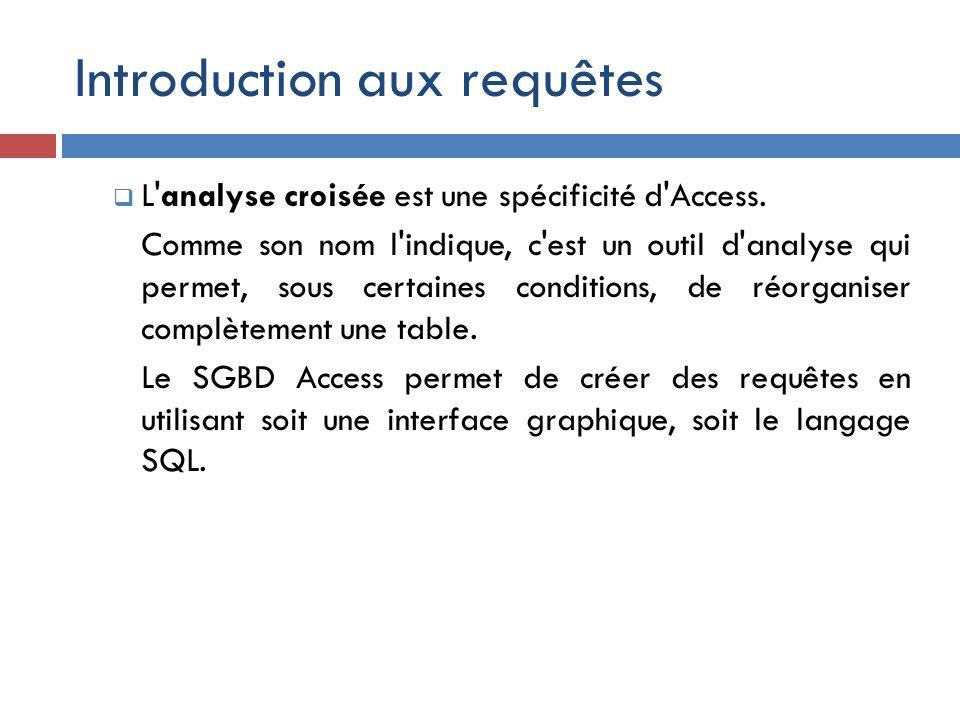 Introduction aux requêtes L'analyse croisée est une spécificité d'Access. Comme son nom l'indique, c'est un outil d'analyse qui permet, sous certaines
