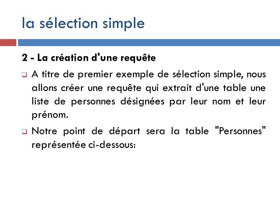 la sélection simple 2 - La création d'une requête A titre de premier exemple de sélection simple, nous allons créer une requête qui extrait d'une tabl