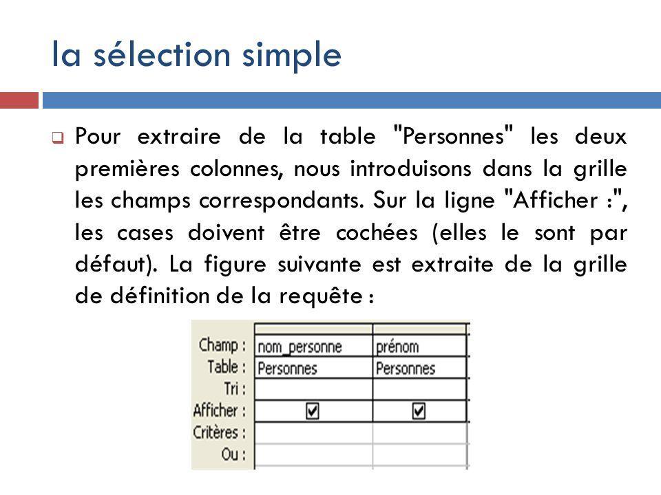 la sélection simple Pour extraire de la table