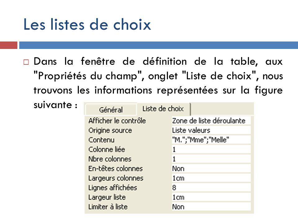 Les listes de choix Dans la fenêtre de définition de la table, aux