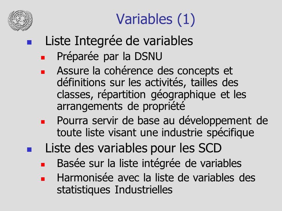 Variables (1) Liste Integrée de variables Préparée par la DSNU Assure la cohérence des concepts et définitions sur les activités, tailles des classes, répartition géographique et les arrangements de propriété Pourra servir de base au développement de toute liste visant une industrie spécifique Liste des variables pour les SCD Basée sur la liste intégrée de variables Harmonisée avec la liste de variables des statistiques Industrielles