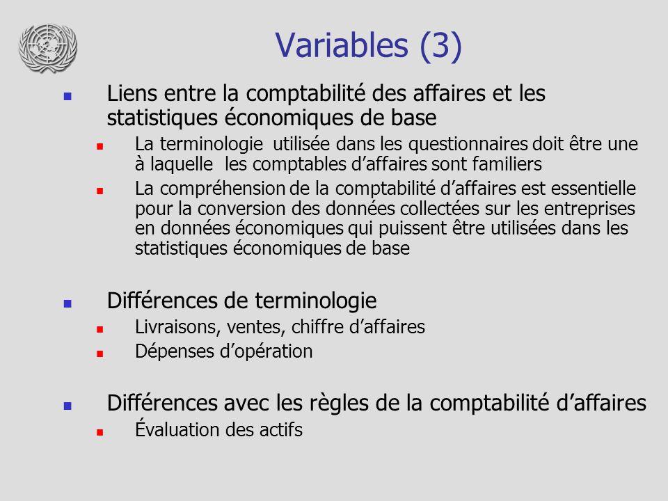 Variables (3) Liens entre la comptabilité des affaires et les statistiques économiques de base La terminologie utilisée dans les questionnaires doit être une à laquelle les comptables daffaires sont familiers La compréhension de la comptabilité daffaires est essentielle pour la conversion des données collectées sur les entreprises en données économiques qui puissent être utilisées dans les statistiques économiques de base Différences de terminologie Livraisons, ventes, chiffre daffaires Dépenses dopération Différences avec les règles de la comptabilité daffaires Évaluation des actifs